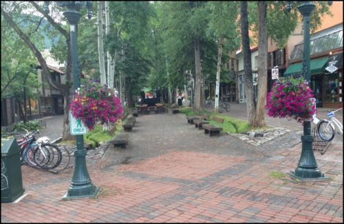 Pedestrian mall in downtown Aspen early Sunday morning before it fills up with people.