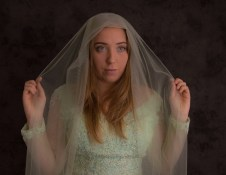 fran- nervous bride in green