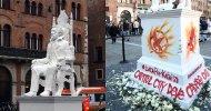 Lucca 2015 – Hunger Games, i ribelli vandalizzano la statua di Snow!