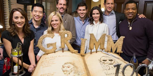 GRIMM -- 100th Episode Ceremony and Cake Cutting -- Pictured: (l-r)  Bree Turner, Reggie Lee, Claire Coffee,  Silas Weir Mitchell, David Giuntoli, Bitsie Tulloch, Sasha Roiz, Russell Hornsby -- (Photo by: Scott Green/NBC)