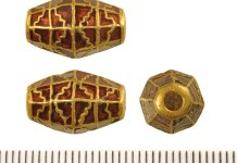 Gold and garnet bead from Rendlesham