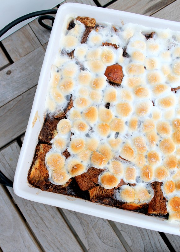 This S'mores Bread Pudding is a soft, decadent dessert or brunch treat that will remind you of your favorite campfire dessert!