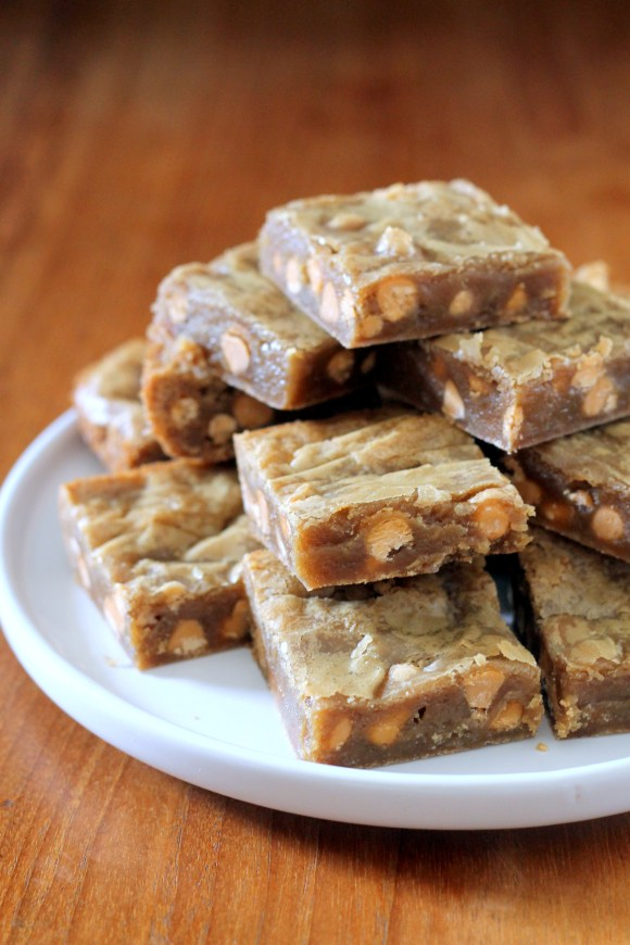 These chewy Browned Butter Butterscotch Bars get a delicious kick from browned butter, for a wonderfully rich and sweet one-bowl cookie bar!