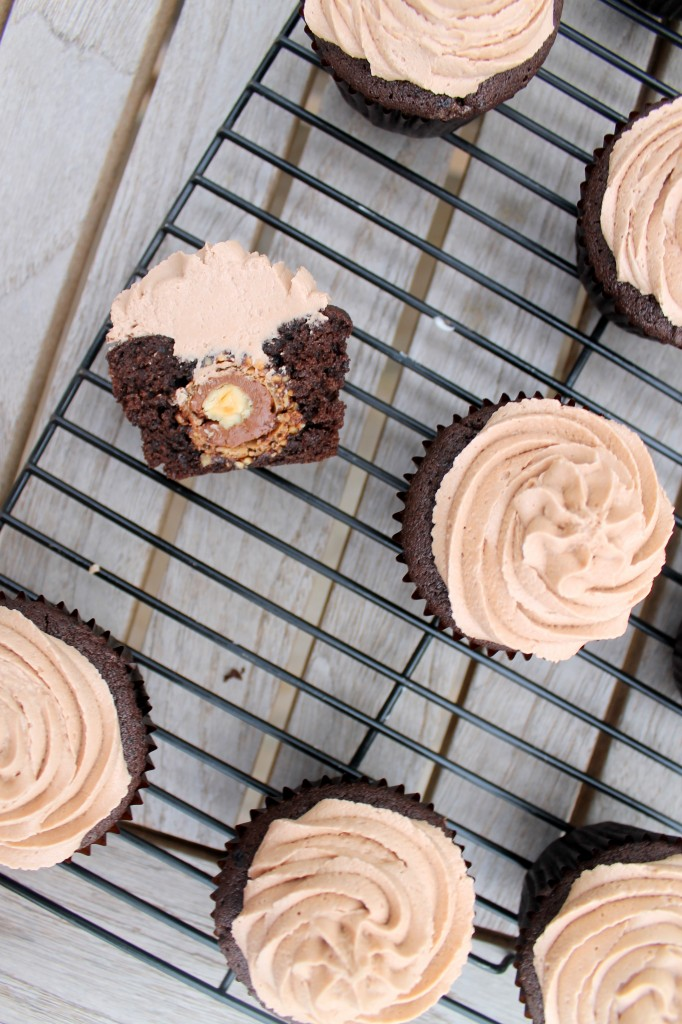 Ferrero Rocher Stuffed Chocolate Cupcakes with Nutella Buttercream on Bakerita's Top 10 Recipes of 2013!