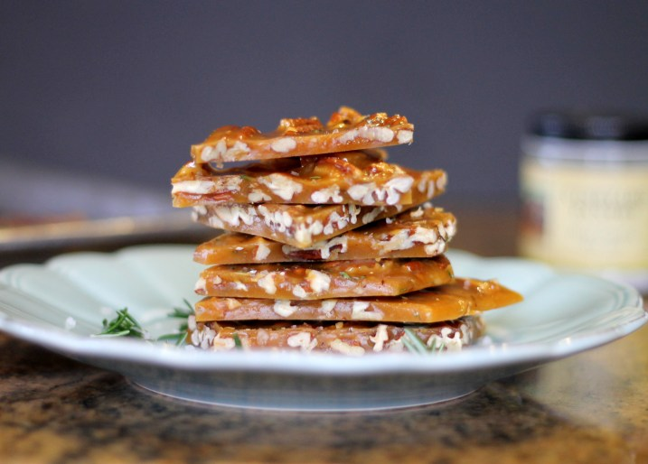 This Salted Rosemary Pecan Brittle comes together in 15 minutes and is so unique and delicious! It also wraps beautifully to make the perfect gift.