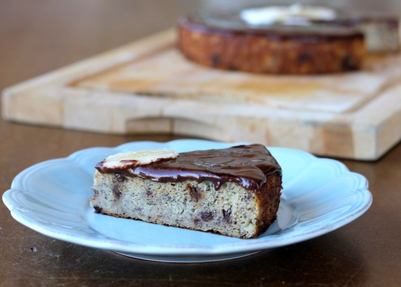 This Paleo Banana Cake is topped with a silky chocolate ganache. This dessert is gluten free, refined sugar free, and healthy enough to be breakfast!