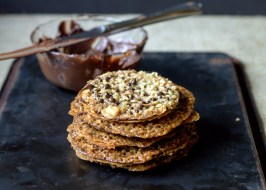 Dark Chocolate Almond Lacey Cookies
