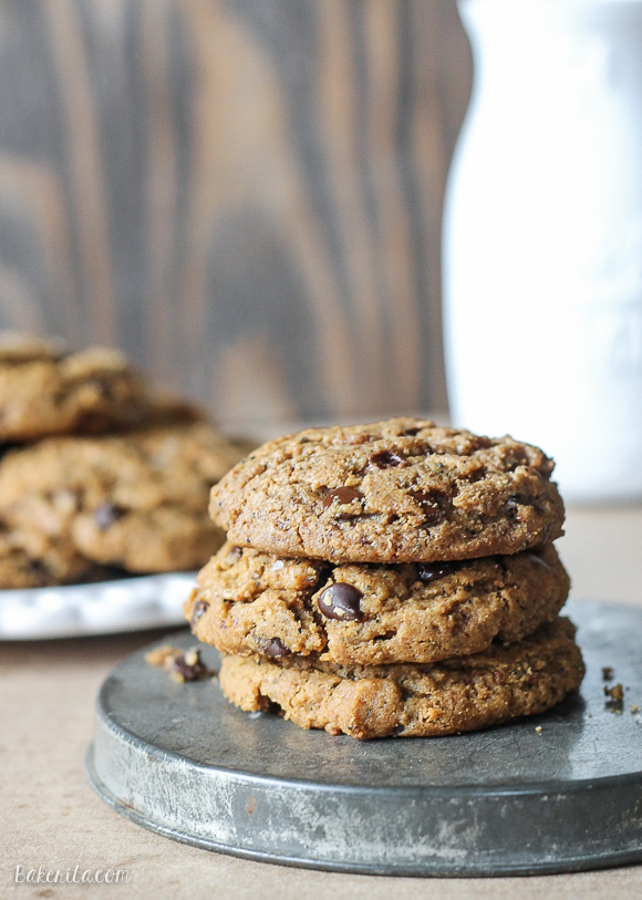 These naturally Flourless Almond Butter Chocolate Chip Cookies are so tender that they melt in your mouth! These flavorful cookies take just 5 ingredients and are totally gluten-free, Paleo-friendly, and refined sugar free.