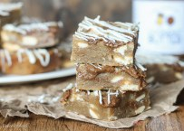 Browned Butter White Chocolate Blondies with CookieNut Butter Swirl