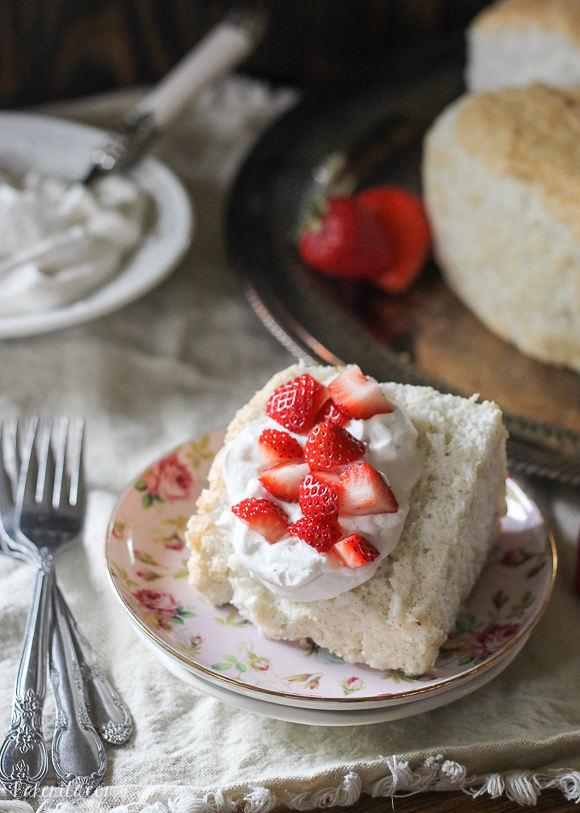 This Vanilla Bean Angel Food Cake is light and airy, with a pure vanilla scent from the vanilla beans flavoring the cake. It's the perfect light dessert when served with berries and whipped cream.