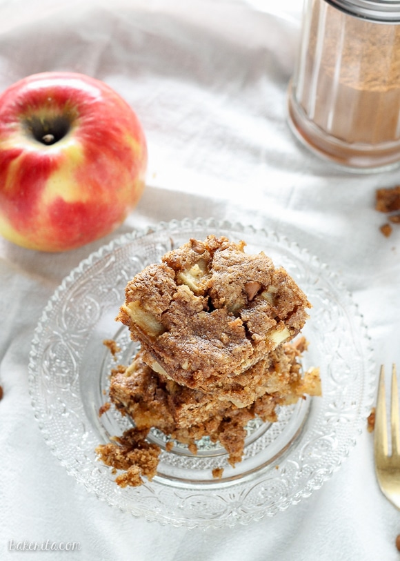 These Apple Cinnamon Oatmeal Cookie Bars are easy, chewy bars with fresh apples and cinnamon chips.