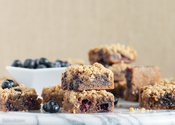 These Blueberry Crumb Blondies have browned butter, fresh blueberries, and a fudgy, chewy texture. The crumble topping makes these taste just like blueberry crumb muffins!