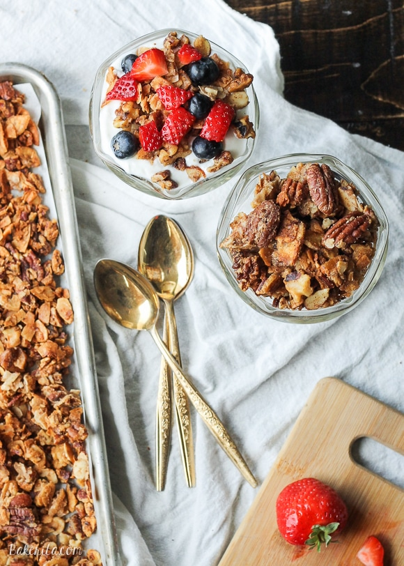 This Paleo Granola uses nuts and coconut to bulk it up and add a ton of protein, while egg whites help keep the granola clumpy and crunchy! It is gluten-free, refined sugar-free, and dairy-free.