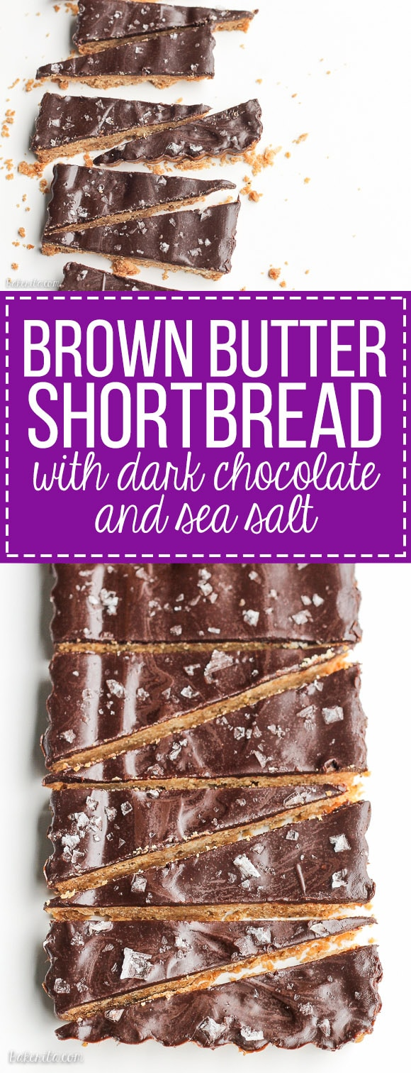 These Brown Butter Shortbread with Dark Chocolate + Sea Salt are full of simple, good quality ingredients for a sandy shortbread cookie that's the perfect addition to any holiday party. Dark chocolate and a sprinkle of good sea salt make this shortbread even more irresistible!