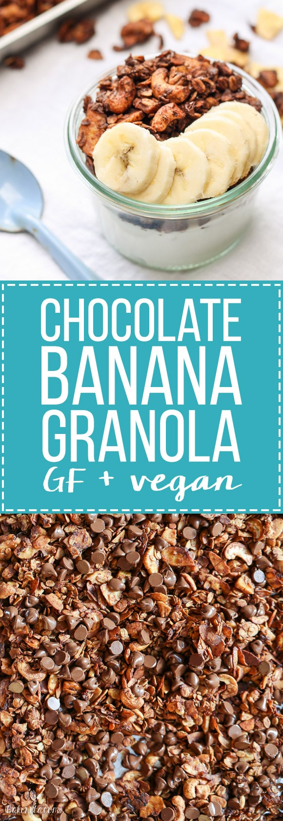 This Chocolate Banana Granola is super chocolatey with mashed banana and banana chips! This gluten-free and vegan granola makes a super addictive snack or breakfast.