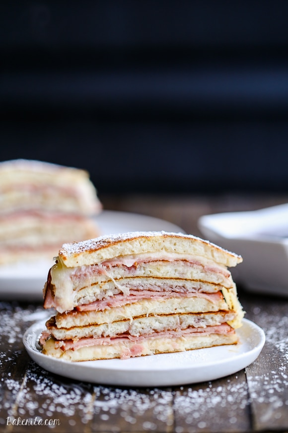 Ever had a monte cristo sandwich? You've never had one like this - these Monte Cristo Pancakes have pancakes instead of bread, with a filling of ham, cheese, and raspberry jam.