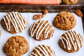Carrot Cake Cookies with Cream Cheese Glaze (GF + Refined SF)