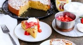 Gluten Free Honey Cornmeal Cake with Strawberry Compote + Honey Whipped Cream