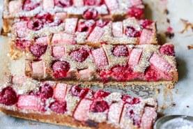 Raspberry Rhubarb Almond Bars (Gluten Free + Paleo)