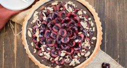 Chocolate Cherry Tart with Toasted Almond Crust (Gluten Free, Paleo + Vegan)