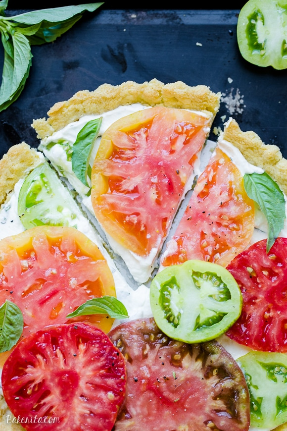 This Ricotta Heirloom Tomato Tart has a gluten-free cornmeal crust and ...