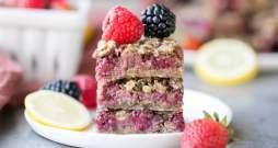 Lemon Berry Oatmeal Snack Bars (Gluten Free + Vegan)