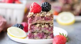 Lemon Berry Oatmeal Snack Bars (Gluten Free + Vegan)
