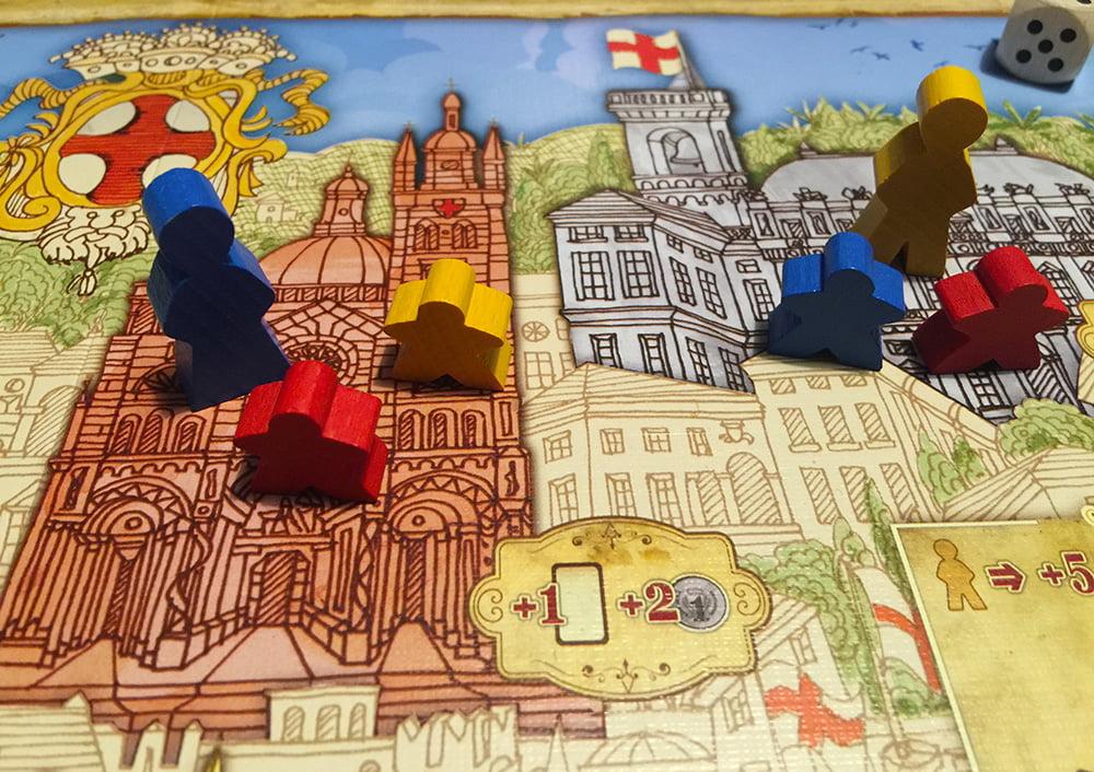 In questo caso, la Dama blu avrebbe la maggioranza sulla Cattedrale (3 contro 2 di ciascun Rampollo), ma non può prendere il controllo dell'edificio, quindi quest'area resta non assegnata.