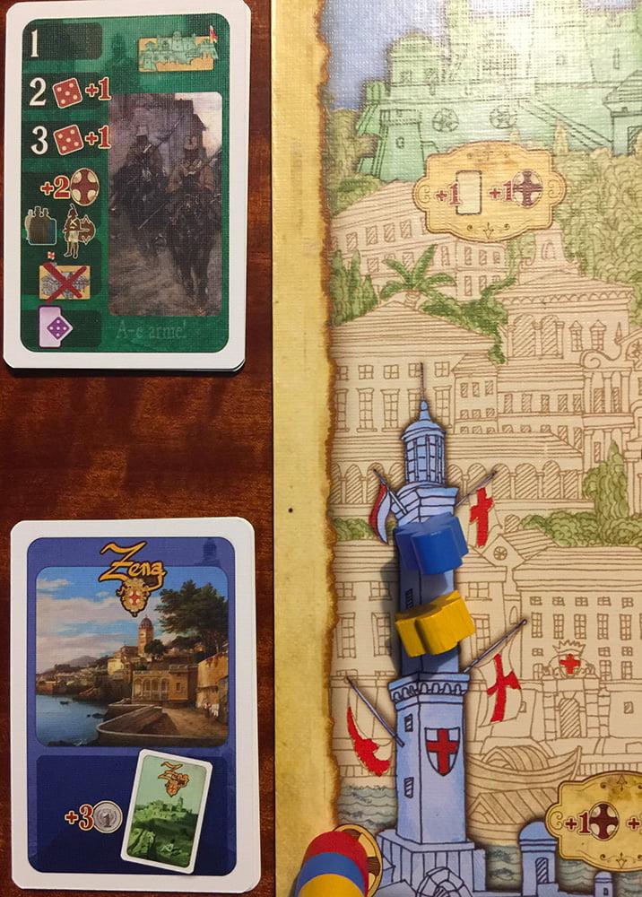 Inizia il turno: la carta Evento ha assegnato 3 soldi a ciascun giocatore, ma ha anche attivato una chiamata alle armi presso il Forte.