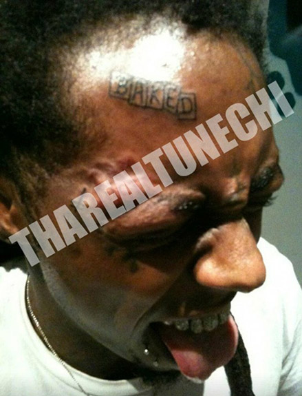 Lil Wayne gets new forehead tattoo, BAKED