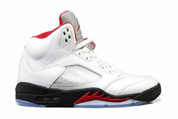 Air Jordan 5 White/Fire Red-Black 2013