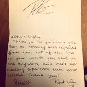 Keith Elgin thank you note from RGIII.