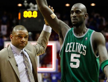 Coach Doc Rivers and Kevin Garnett