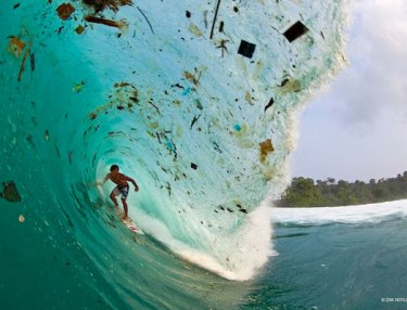 Surfer paradise, Indonesia, is disturbingly polluted.