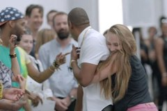 Actress Jemima Kirke hugs Jay Z at 'Picasso Baby' video