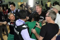 Freddie Roach and Brandon Rios' camp nearly get into brawl.