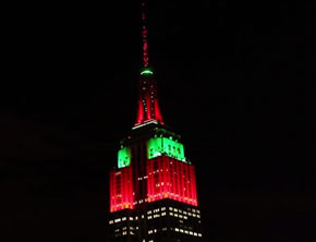 Empire State Building Christmas Light Show 2013