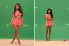 Nicki Minaj on set of summer Myx Fusions Moscato commercial.