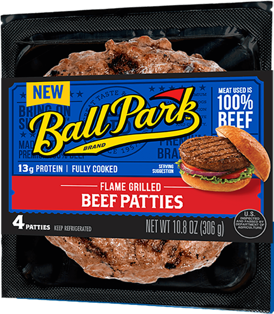 Perfect Ball Park Fully Cooked Frozen Steakhouse Burger Patties 4 Ct Detail Page Hero Blue 0 Ball Park Franks Ingredients List Ball Park Franks Slogan nice food Ball Park Franks