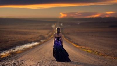 Alone Girl on Road Desktop Wallpaper 21331 - Baltana