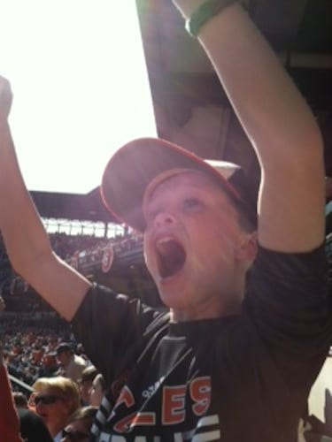 The author's son, Charlie, on Opening Day.  Photo by Muffy Fenwick.