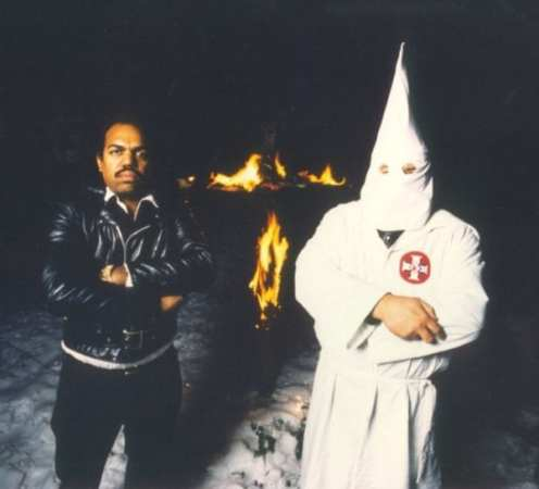 Daryl Davis, left, at a Maryland KKK rally back in the day