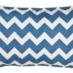 Blue Cotton Chevron Pillow  from Liza Byrd