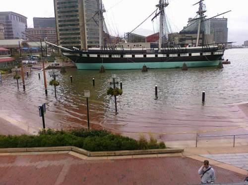 Inner Harbor flooding (via weather.com)