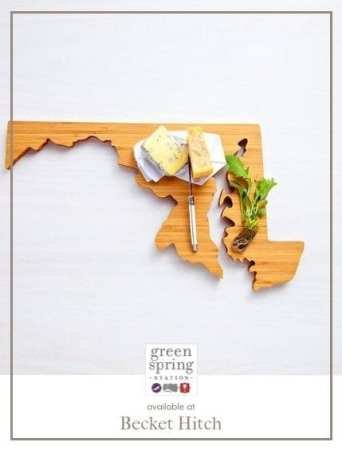 Maryland State Cutting Board -- perfect for gifting! Available at @Becket Hitch. #GreenSpringStyle #Gifts #Maryland