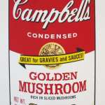 """Pictured: Andy Warhol, """"Campbell's Soup Cans II - Golden Mushroom"""", Screenprint, Dimensions: 35 x 23 in. Price upon request  Give an iconic piece of art history with this Andy Warhol Campbell Soup - Golden Mushroom silkscreen. Arguably his most recognizable series, Warhol's sought after Campbell Soup silkscreen are an integral piece to add to any collection."""
