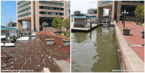 Before/after Harbor photo via @MrTrashWheel