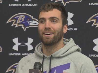 Joe Flacco (still via WBAL-TV)