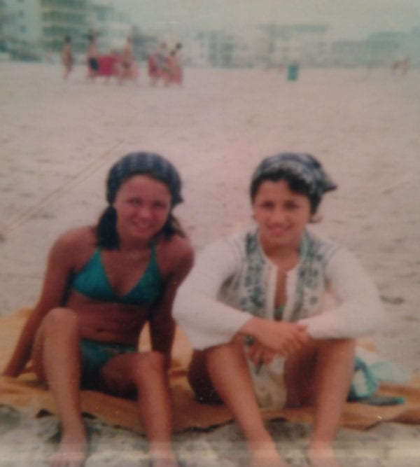 The author, left, in her turquoise bikini--with her best friend, Sara.