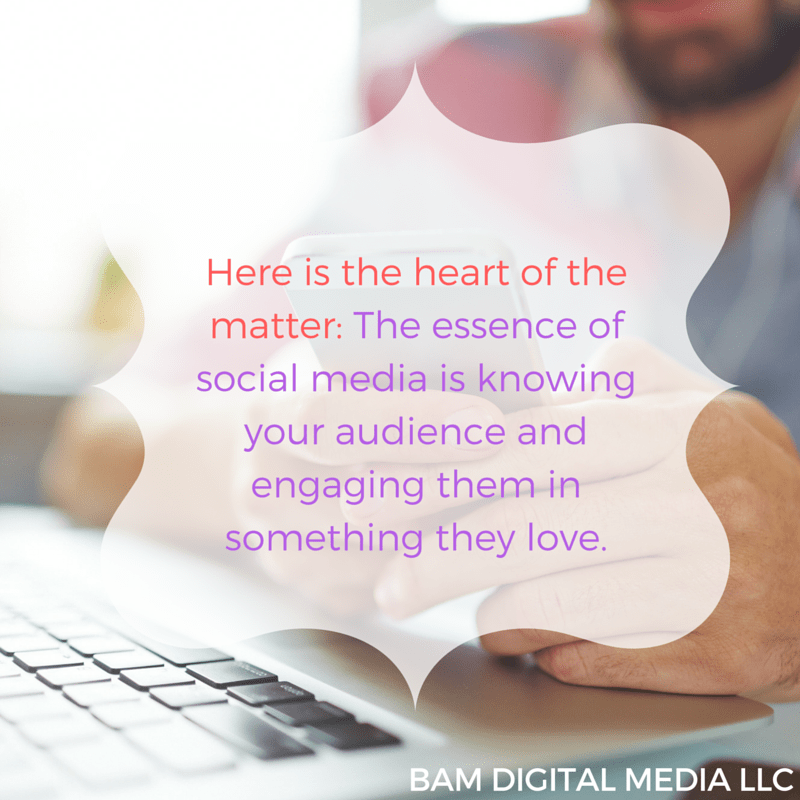 Here is the heart of the matter, The essence of social media is knowing your audience and engaging them in something they love.